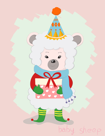 Cute little sheep cartoon with gift box red ribbon. Hand drawn style