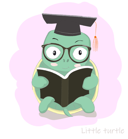 Cute cartoon clever little turtle reading book. Hand drawn style Ilustrace