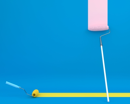 Creative layout of paint roller corn is brush color trail on blue background. minimal idea concept. Ideas creative to produce work within banners and advertising. Reklamní fotografie