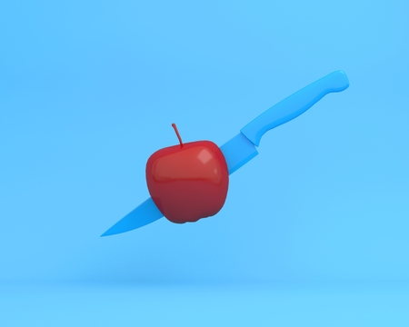Creative layout made of knife blue in apple on blue background. minimal idea food concept. An idea creative to produce work within an advertising marketing communications or artwork design. Reklamní fotografie