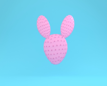 Pink cactus rabbit floating on blue color pastel background. minimal idea concept. Reklamní fotografie