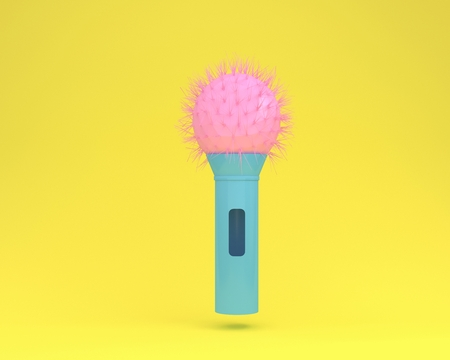 Colorful cactus microphone floating on yellow pastel background. minimal idea concept. Idea creative to produce work within an advertising marketing communications or artwork design