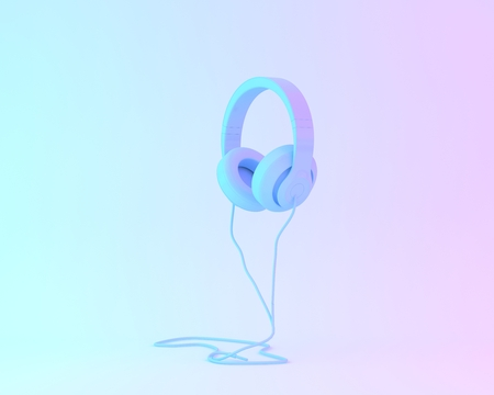 Creative layout of headphones concept painted in blue and vibrant bold gradient purple and blue holographic color lights background. minimal style. surrealism art. Reklamní fotografie