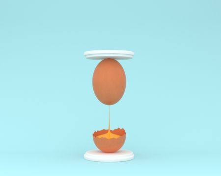 Creative idea layout egg hourglass on pastel blue background. minimal concept. food ideas creatively to produce work within an advertising marketing communications Reklamní fotografie