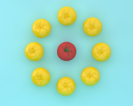 Creative layout of outstanding tomato on blue color background. minimal food and fruit ideas. Difference concept. Reklamní fotografie