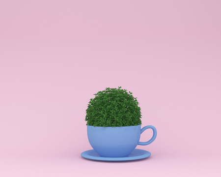 Creative made of plant with blue coffee cup on pink pastel background. minimal concept. Idea creatively to produce work within an advertising marketing communications