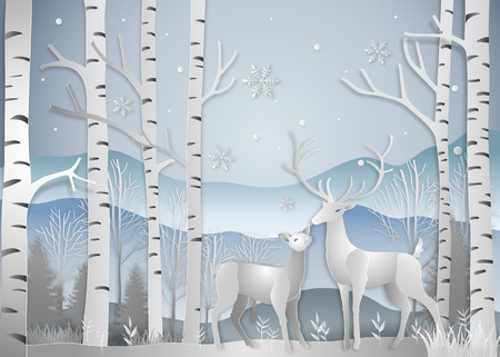 Winter season, Deer in forest landscape with snowflakes and mountains background. paper art and digital craft style. Vector illustration. Ilustrace
