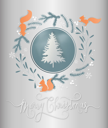 Minimal greeting card concept of winter season and Christmas day snowflakes and christmas tree. paper art and digital craft style. Vector illustration.