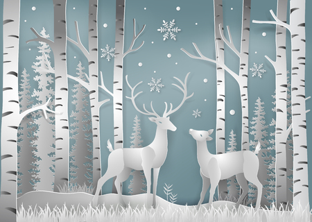 Minimalism of winter season and Christmas day Deer under the view pine forest landscape with snow background. paper art and digital craft style. Vector illustration.