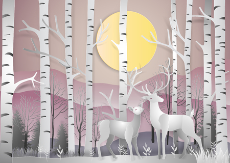 Reindeer in forest landscape at dawn with mountains background. paper art and digital craft style. Vector illustration. Ilustrace