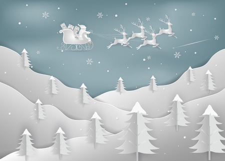 Merry Christmas and New Year. Illustration of Santa Claus with reindeer on the sky. Christmas forest woods with mountains. minimal greeting card concept. Paper art and digital craft style.