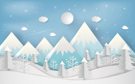 Minimal new year concept of winter season and beautiful christmas day flat lay landscape background. Christmas forest woods with mountains. paper art and digital craft style. Vector illustration. Ilustrace