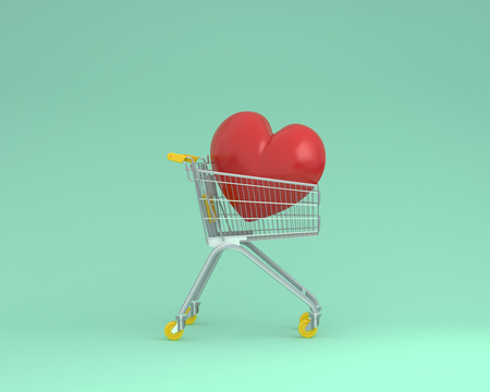 Creative layout of shopping cart with red heart on green color background. minimal business ideas. concept of retail consumers and shoppers looking for special gift  during the promotion or season