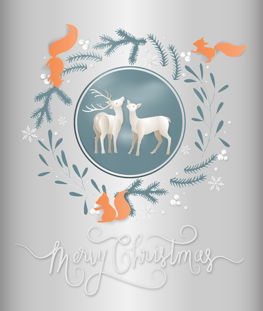 Illustration of postcard winter season and reindeer with squirrels in a garland of flowers and leaves background. Merry christmas and new year greeting card concept. Layered cut out paper style.