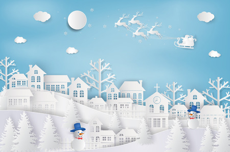 Merry Christmas and Happy New Year. Santa Claus on the sky coming to City. with winter landscape with snowflakes, light, stars. Merry Christmas card. paper art and craft style. Vector illustration Illustration