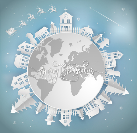 Merry christmas card and Happy New Year. santa claus is coming to the earth. with city winter landscape with snowflakes, light, stars. Paper art and digital craft style.