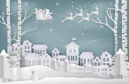 Paper art style of Merry christmas and New Year. Illustration of santa claus is coming to city. Winter snow. minimal greeting card concept.