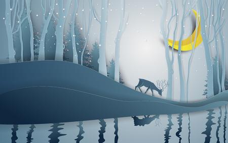 Estilo de arte de papel de la temporada de invierno y ciervos del día de Navidad bajo la vista del paisaje de bosque de pinos con fondo de nieve. Ilustración vectorial. Ilustración de vector