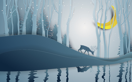 Paper art style of winter season and Christmas day deer under the view pine forest landscape with snow background. Vector illustration. Иллюстрация