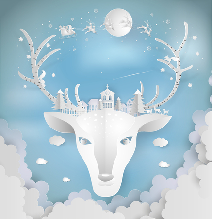 Paper art style of Merry christmas and New Year. Illustration of deer and antler with city winter landscape with snowflakes, light, stars. minimal greeting card concept.