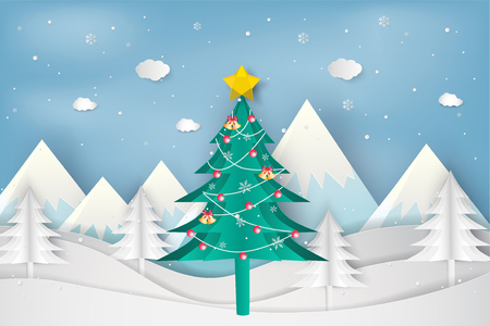 Paper art style of Merry Christmas and Happy New Year. christmas tree in winter with  landscape background