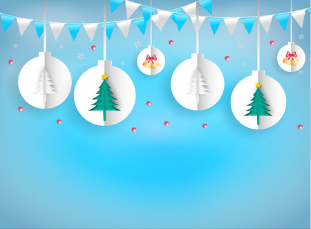 Illustration paper art style of christmas ornaments hanging rope white on blue background. It represents the celebration on the day of happiness.  Merry Christmas and Happy New Year.