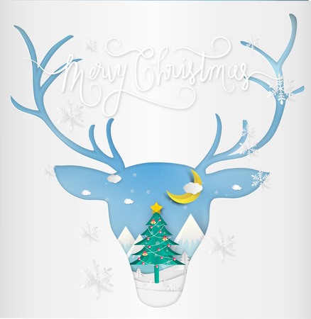 Paper art style of Merry christmas and New Year. Illustration of deer and antler winter landscape and Christmas Tree. greeting card concept.