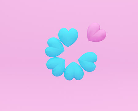 Outstanding pink hearts on pink background. minimal concept idea. of love and valentine day depicts strong love passion for romantic couple.