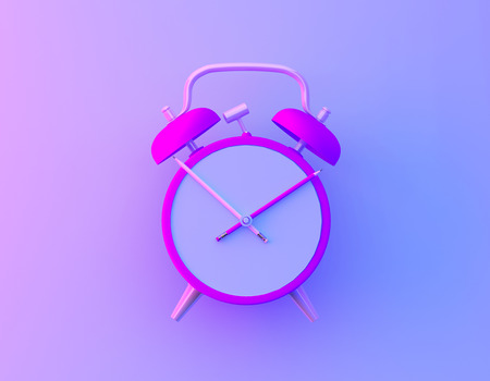 Creative idea layout slice alarm clock and pencil in vibrant bold gradient purple and blue holographic colors background. Minimal business and education concept. Stock fotó