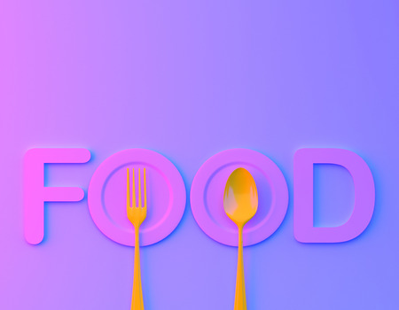 Food word sign logo with spoon and fork in vibrant bold gradient purple and blue holographic colors background. minimal food concept. Cafe or restaurant emblem.