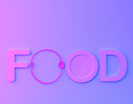 Cafe or restaurant emblem. food word sign   with spoon and fork in vibrant bold gradient purple and blue holographic colors background. minimal food concept.