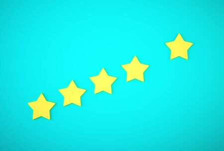Yellow five star symbol on blue background. The best excellent business services rating customer experience concept.