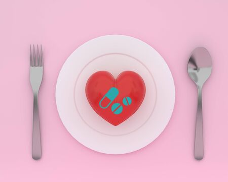 Concept idea about of health and medical insurance, Creative idea of heart on plate with spoons and forks with icon healthcare medical on pink color background. Stock fotó