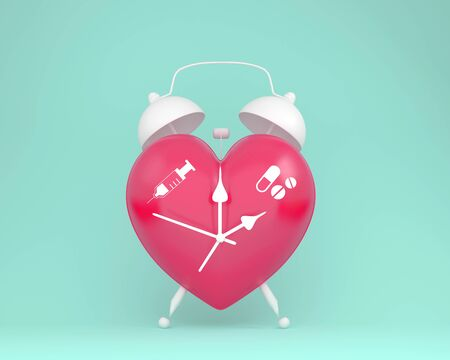 Concept idea about of health and medical insurance, Creative idea layout red heart alarm clock with icon healthcare medical on pastel blue background.