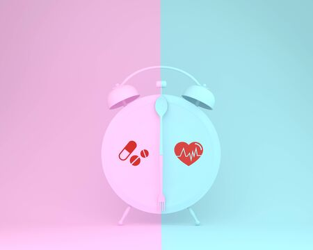 Creative of spoon and fork on round plate in a form of alarm clock with icon healthcare medical on pink and blue pastel background. Minimal concept of Insurance for your health.