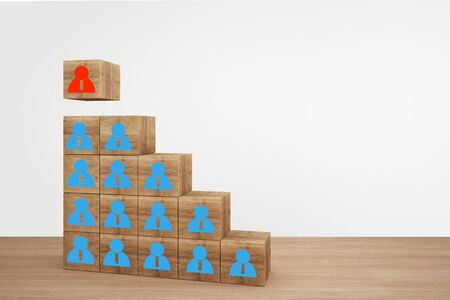 Wooden cube blocks on top staircase with people icon. business Leadership concept, Select team leader, staff, building a good team, human resources and management concepts.