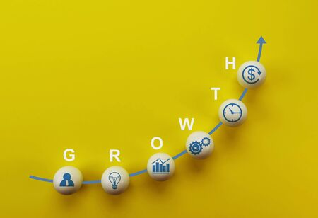 Business strategy and action plan, business success growing growth increase up concept. white sphere with word GROWTH on yellow background with a growing graph arranged in curve shape.