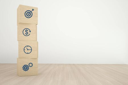 Arranging wood cube block stacking with icon business strategy and action plan on wood background. Minimal concept