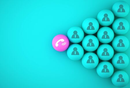 The button telephone sphere symbol with Icon people on blue background for social media networking