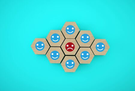 Abstract of face emotion happiness and sadness, Unique, think different, individual and standing out from the crowd concept. Wooden hexagon with icon on blue background.