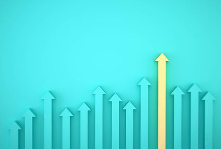 Abstract of yellow arrow graph on blue background, corporate future growth plan. Business development to success and growing growth concept. Stock fotó
