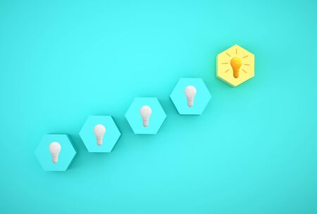 Minimal concept creative idea and innovation. light bulb revealing an idea with hexagon different on blue background.