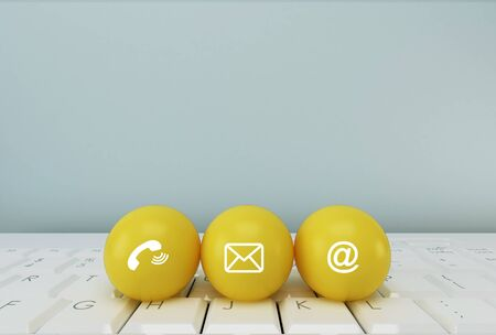 Post icons yellow sphere symbol telephone, mail, address and mobile phone. Contact Methods concept on website page or e-mail marketing.
