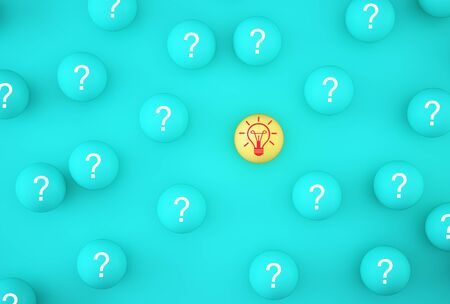 Creative idea of leader with idea and innovation to clever. Arrange outstanding  icon light bulb symbol with yellow sphere on blue background