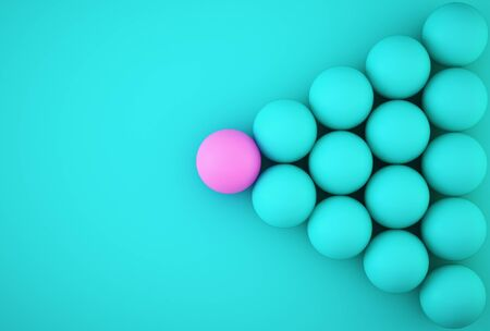 Abstract photo of ourstanding pink sphere among blue sphere on blue background. minimal business concept Stock fotó