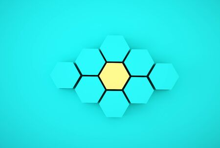 Abstract photo of ourstanding yellow beehive-like hexagons among blue hexagons on blue background. minimal business concept. Stock fotó