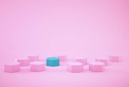 Abstract photo of ourstanding blue beehive-like hexagons among pink hexagons on pink background. minimal business concept.