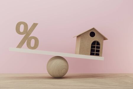Percentage symbol icon and house a balance scale in unalike. financial management concept : depicts short term borrowing for a residence.