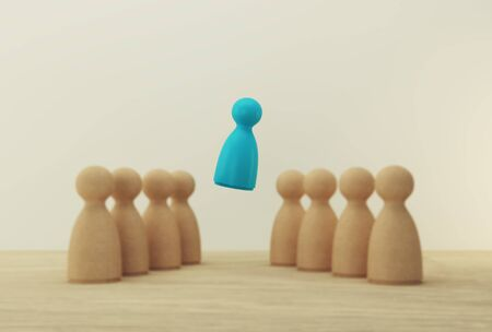 Chooses blue people model outstanding out from the crowd. Human resource, Talent management, Recruitment employee, Successful business team leader concept.