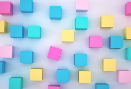 The colorful cube block with on white  background. minimal concept idea. Stock fotó